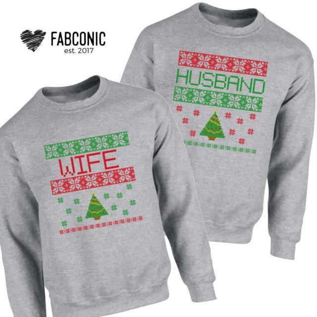 Husband Wife Christmas Gift, Matching Christmas Couple Sweatshirts