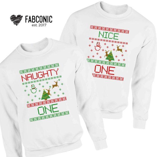 Naughty One Nice One Sweatshirts, Christmas Family Sweatshirts, Christmas Gift