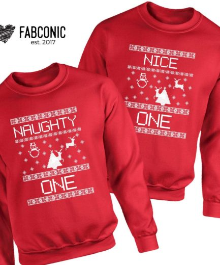 Naughty One Nice One Sweatshirts, Christmas Family Sweatshirts, Christmas Gift