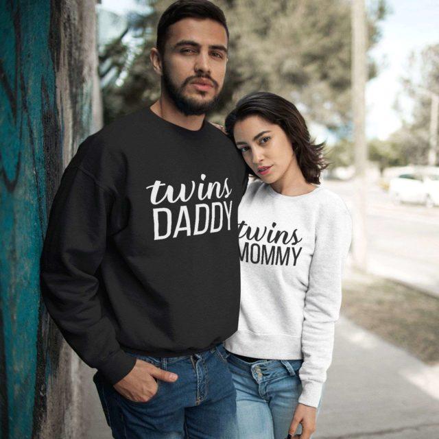 Twins Mommy Twins Daddy Sweatshirts, Couple Sweatshirts, Twins Sweatshirts