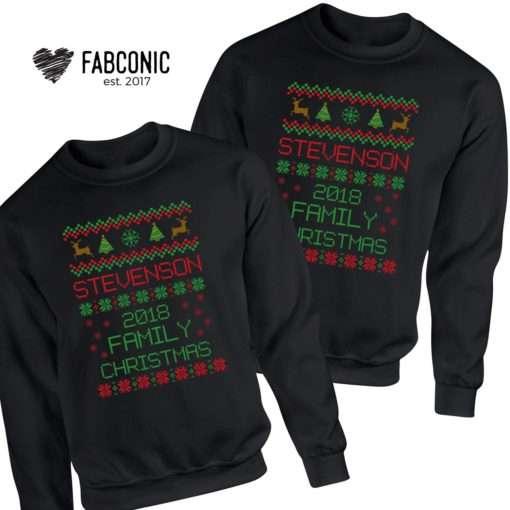 Custom Name Ugly Christmas Sweatshirts, Matching Couple Christmas