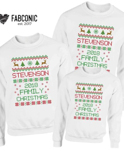 Custom Name Ugly Christmas Outfit, Family Sweatshirts, Christmas Gifts