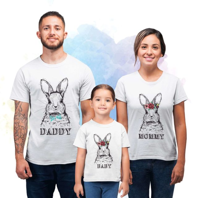 Bunny Family Shirts, Daddy Mommy Baby, Easter Family Shirts