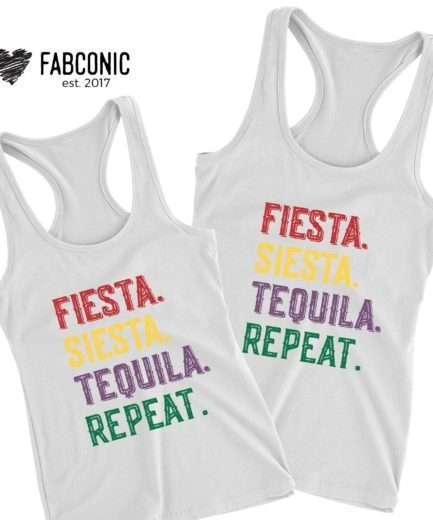 Fiesta Siesta Tequila Repeat Tank, Cinco de Mayo Tank Tops