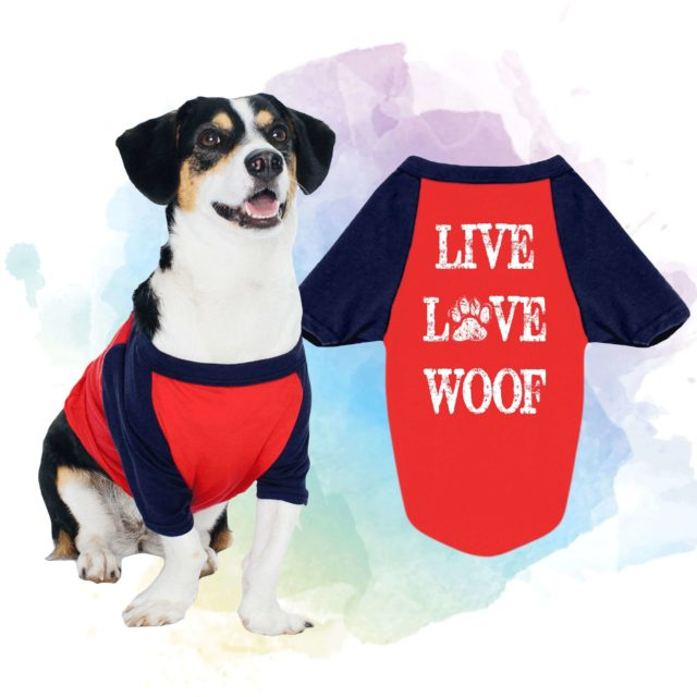Dog Lover Gift, Live Love Woof, Raglan, Dog Shirt, Gift for Dog Lover