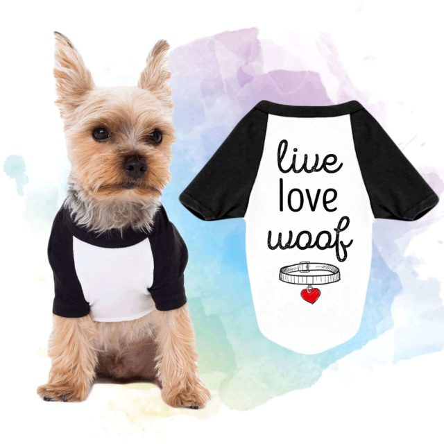 Live Love Woof Dog Shirt, Funny Dog Outfit, Dog Raglan, Gift for Dog Lover