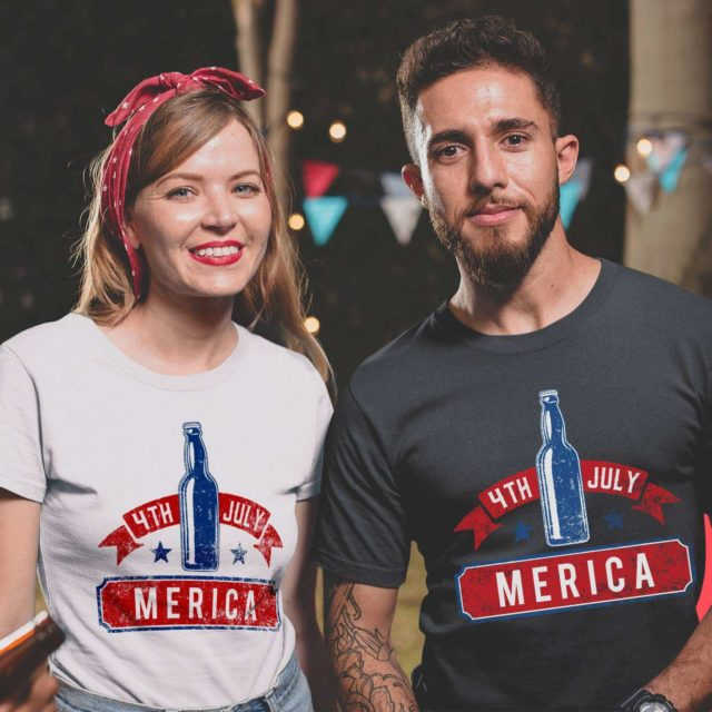 Merica and Beer Shirt, 4th of July Couple Shirts, Matching Shirts