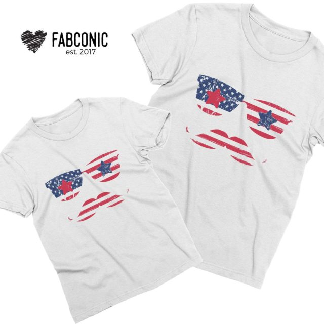 Independence Day Family Shirts, American Sunglasses and Moustache