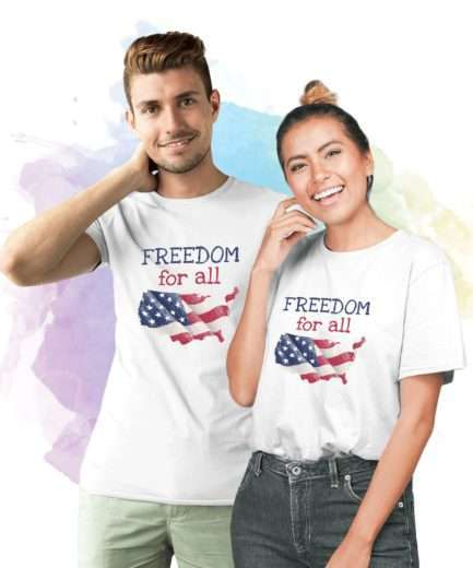 Freedom for All Shirts, 4th of July Matching Couple Shirts
