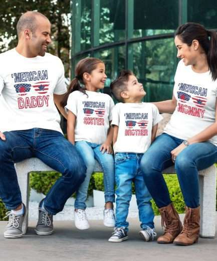 Merican Mommy Daddy Baby Shirts, 4th of July Shirts, Family Shirts