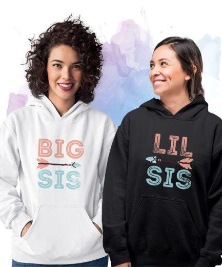 Big Sis Lil Sis Matching Hoodie, Boho, Best Friends Hoodies, Sister Hoodies