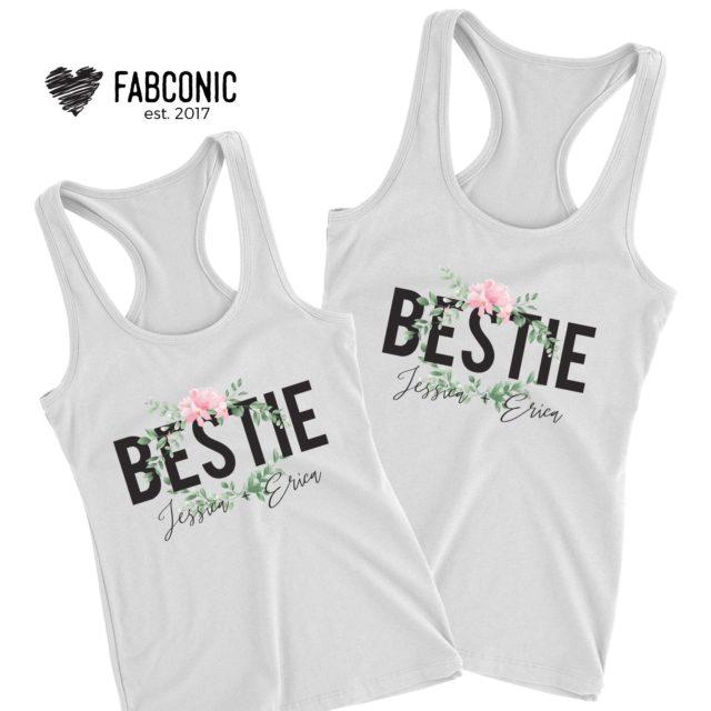 Custom Bestie Tank Tops, Gift for Bestie, Personalized Names, Tank Tops