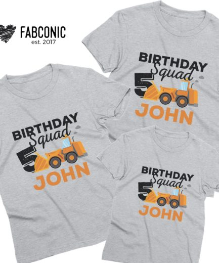 Personalized Birthday Boy Shirts, Birthday Squad, Bulldozer, Family Shirts