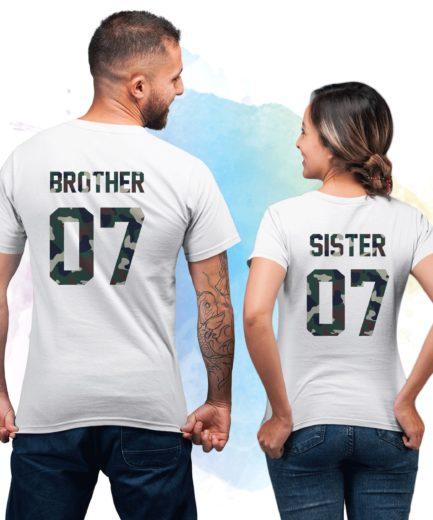 Siblings Shrits, Sister 07, Brother 07, Siblings Gift, Camouflage, Siblings Shirts
