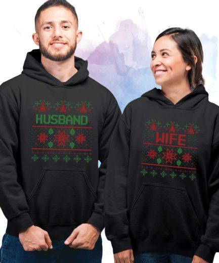 Husband Wife Couple Christmas Hoodies, Matching Couples Hoodie, Christmas Couples
