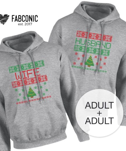 Christmas Couple Hoodies, Husband Wife Hoodie, Matching Christmas Hoodies