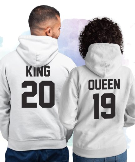 King Queen Personalized Hoodies, Custom Number, Matching Couple Hoodies