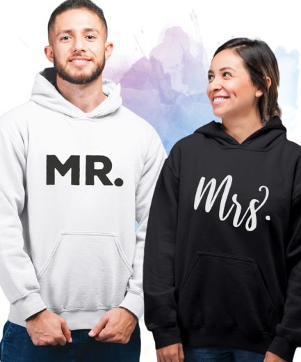 Mr Mrs Couples Anniversary Gift, Matching Couple Hoodies