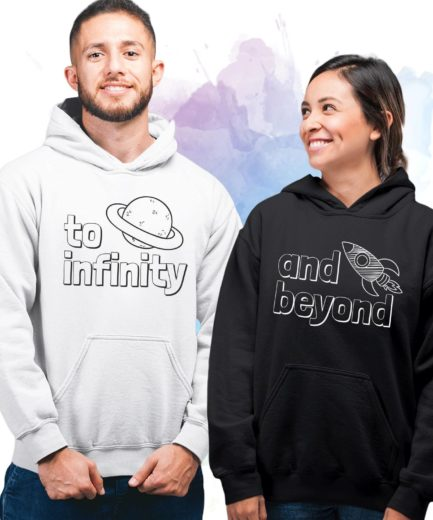 To Infinity And Beyond Couple Hoodies, Matching Hoodies for Couples