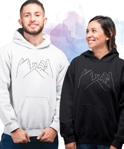 Pinky Promise Couple Hoodies, Matching Hoodie for Couples, His Hers Hoodies