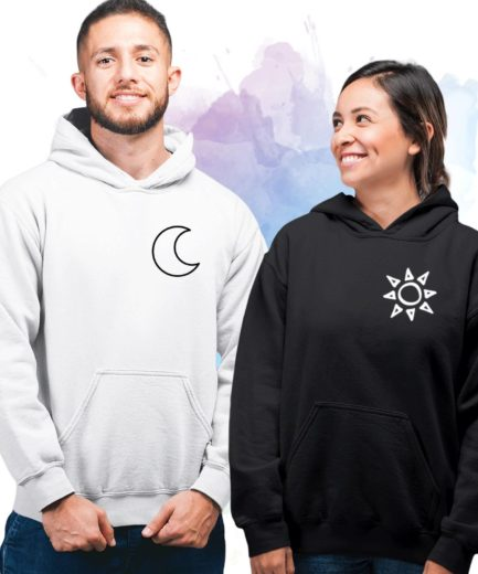 Moon Sun Couple Hoodies, Matching Hoodies for Couples, Anniversary Gift