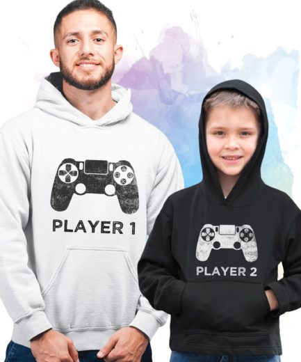 Father Son Matching Hoodie, Player 1 Player 2, Family Hoodies