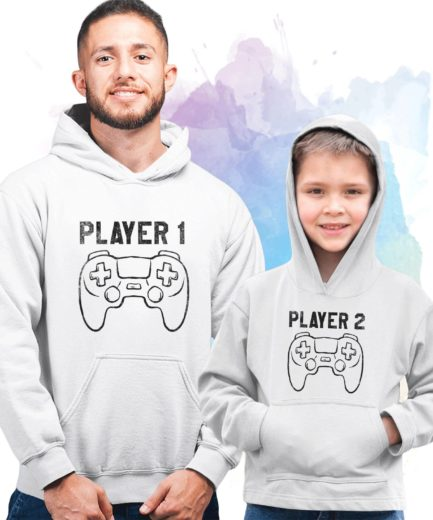 Player 1 Player 2 Family Hoodies, Matching Father Son Hoodies