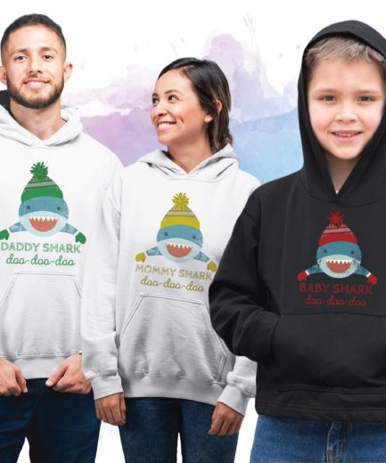Shark Family Christmas Hoodies, Daddy Shark Mommy Shark Baby Shark