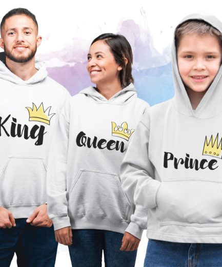 King Queen Prince Family Hoodies, Matching Family Hoodies
