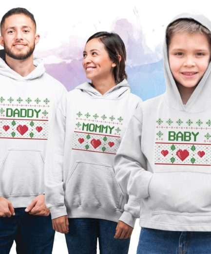 Mommy Daddy Baby Christmas Hoodie, Family Christmas Hoodies