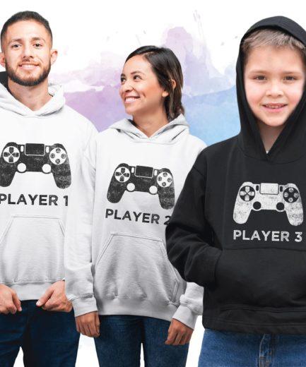 Player 1 Family Hoodies, Player 1, Player 2, Player 3, Family Hoodies