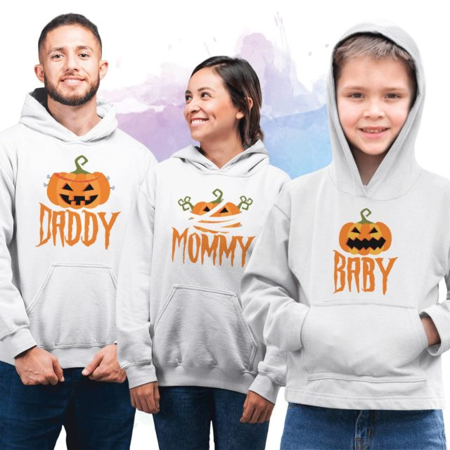 Halloween Family Hoodies, Pumpkin Mommy Daddy Baby, Matching Family Hoodie