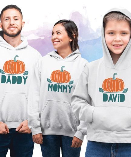 Thanksgiving Family Hoodies, Pumpkin Daddy Mommy Baby, Family Hoodies