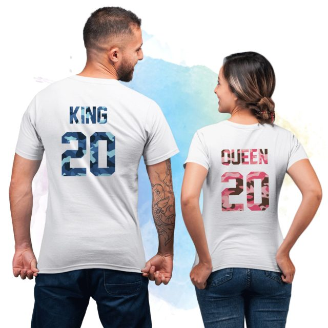 Personalized Couple Shirts, King 20 Queen 20, Camouflage, Couple Shirts