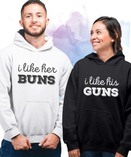 Funny His Hers Hoodies, I Like His Guns, I Like Her Buns, Couple Hoodies