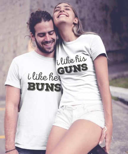 Valentines Day Gift for Him, I Like Her Buns, I Like His Guns, Couple Shirts