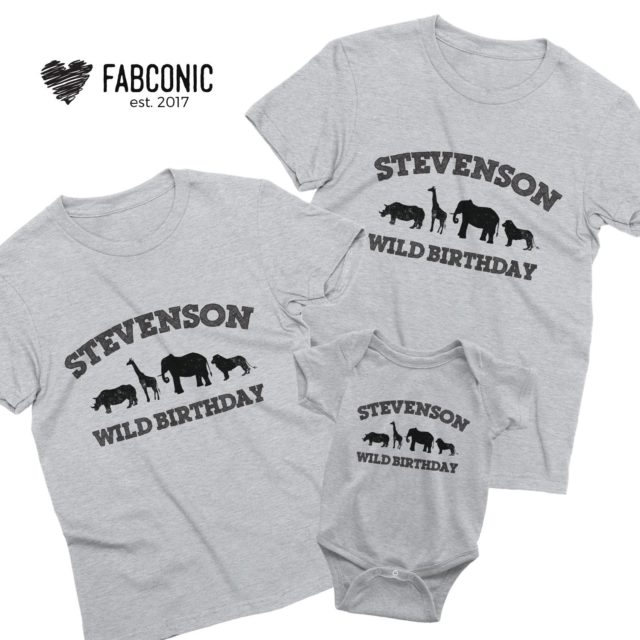 Birthday Family Shirts, Custom Name Wild Birthday, Animals, Family Shirts