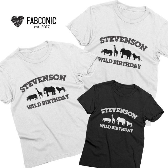 Birthday Family Shirts, Custom Name Wild Birthday, Animals, Family Shirts