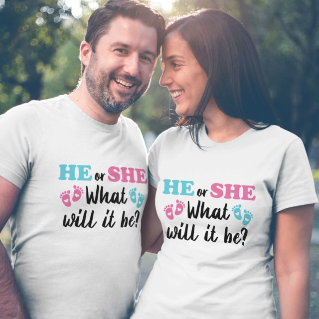 Gender Reveal Shirts, He or She What Will It Be, Pregnancy Announcement Shirt