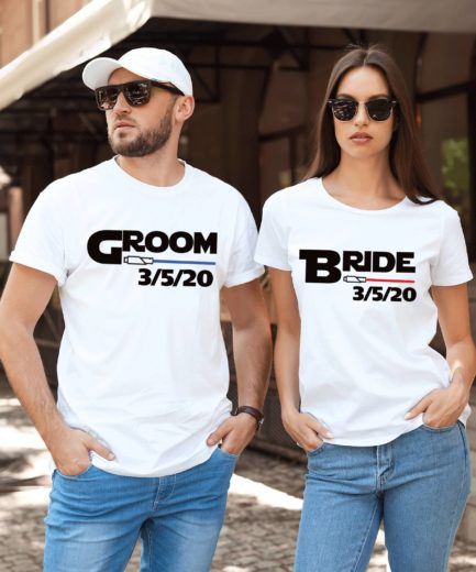 Bride Groom Funny Shirts, Lightsaber Shirts, Matching Couple Shirts