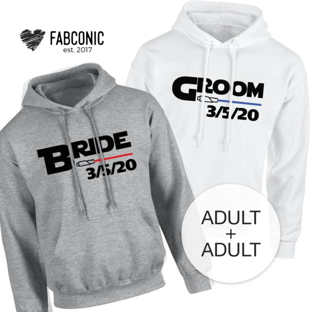 Bride Groom Couple Hoodies, Lightsaber Hoodie, Matching Couple Hoodies