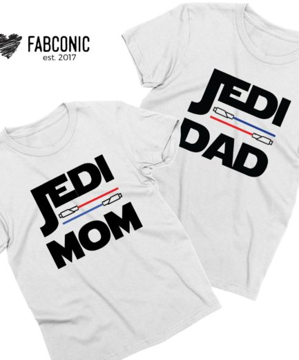 Jedi Dad Jedi Mom Shirts, Couple Shirts, Matching Funny Shirts