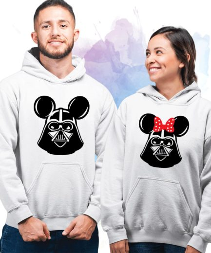 Mickey Minnie Jedi Heads Hoodies, Couple Hoodies, Matching Hoodies for Couples